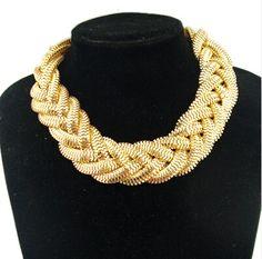 New SBY0316 Fashion Φ_Φ Bohemian  gold woven chain Chokers chunky ᑐ big statement necklacesNew SBY0316 Fashion Bohemian  gold woven chain Chokers chunky big statement necklaces http://wappgame.com