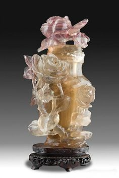 """Antique Chinese rutilated quartz bottle with lid on carved wood stand. 8.3"""" H."""