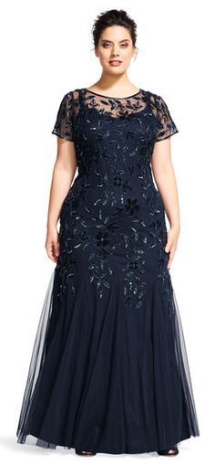 This truly glamorous gown features a delicately beaded floral pattern that cascades elegantly down the dress. Short sleeves and a sheer neckline and yoke, make this style a must-have. A keyhole back completes the look. This Adrianna Papell design has been made from the finest and most luxurious fabrics. All bead work, embroidery and ornamentation has been done completely by hand. Slight irregularities or variations should not be regarded as defective or damaged, rather a testament to the…