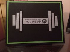 A thank you card for my trainer at the gym that is moving on. Gumball Green, blasic black, brushed silver. Stamp set -Perfect Words (All Stampin Up).