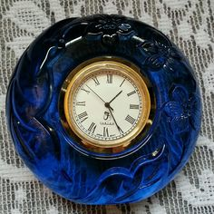 Vintage Fenton Round Floral Cobalt Blue Art Glass Clock Signed & Stickered