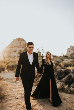 These all black outfits were stunning at this Joshua Tree desert engagement session