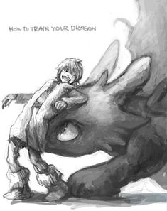 grayscale, How to train your dragon, toothless, hiccup, night fury, dragon, viking