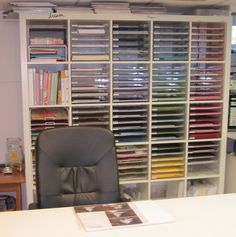 in the craft room--the bookcases can be made tall for albums, or skinny for paper.  but  it needs doors u can either open & slide back, or close it from sunlight