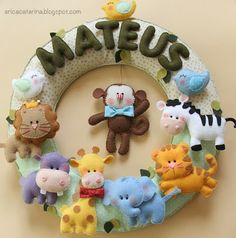 corona de animales para bebé en fieltro - baby shower gift, felt animals