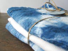shibori, shibori dyed, indigo tea towel hostess gift, hippie, gypsy, kitchen decor by WyomingCreativeEast