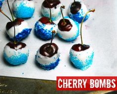 Cherry Bombs from Cups Sticks & Nibbles by Nicole Meyer - a party and entertaining cookbook #ad | The TipToe Fairy