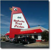 "Marietta, GA... KFC kept ""the big chicken"" landmark when they bought out the original establishment. Directions in Marietta still include phrases like ""first light past the big chicken..."""