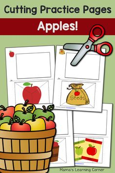 Download a 10-page set of cutting practice worksheets with a fun apple theme! A perfect supplement to your apple unit study!