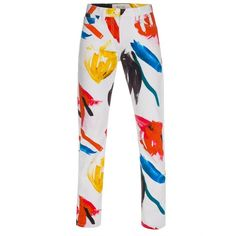 Paul Smith Women's White Jeans With 'Painterly Floral' Print ($270) ❤ liked on Polyvore featuring jeans, pants, bottoms, zipper jeans, floral jeans, paul smith, button-fly jeans and white jeans