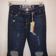 Blue Jeans Denim Size 1 Mossimo Supply Lowest Rise Bell Bottom Distressed New  #MossimoSupplyCo #LowestRiseBellBottom