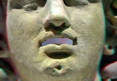 Mask Medusa Carthage 3D RMO Leiden anaglyph stereo red/cyan