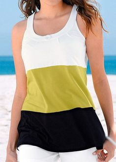 WEBNODE :: Yellow and Black Round Neck Tank Top :: Fashionerly