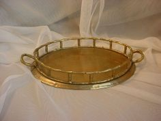 Vintage Brass Faux Bamboo Vanity Tray Oval 6 x 9 inches India Decorative