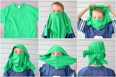 Tried this with my boys and they love it! Best part is you don't have to cut up the shirt or sew anything. Ninjago Ninja Mask from t-shirt (A Lemon Squeezy Home)
