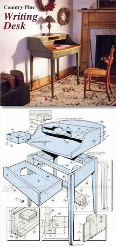 Writing Desk Plans - Furniture Plans and Projects | WoodArchivist.com #furnitureplans #WoodworkingIdeas #WoodworkingPlans