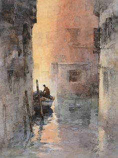 Huang Hsiao-Hui Jasmine 【夕陽中的威尼斯/ Sunset in Venice】 watercolor by Huang Hsiao-Hui,26cmx35cm, 2015 #watercolor jd