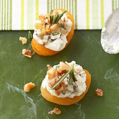 Blue Cheese-Apricot Bites  Get your fix of fruit this holiday. The distinctly sweet flavor of dried apricots complements the light, Gorgonzola/cream cheese topper in these delectable bites. sugared walnuts & snip rosemary on top for a classic garnish