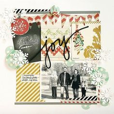 #papercraft #scrapbook #layout  1 photo + journal cards + snow