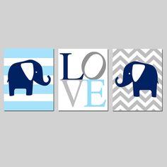 Elephant Nursery Art Trio - Set of Three 8x10 Prints - Striped Elephant, LOVE Typography, Chevron Elephant - Choose Your Colors