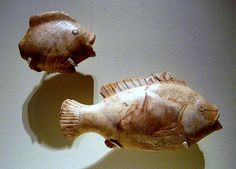 Anhydrite From Girga (near Abydos)  Ointment jar in the shape of a fish Middle Kingdom - early New Kingdom (ca. 1900-1500 B.C.) Egyptian alabaster