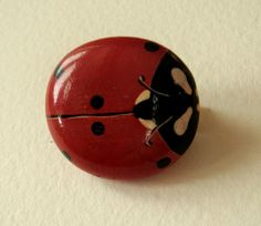 Hand painted rock brooch  Funny red ladybug by Stonesfantasies, €10.00