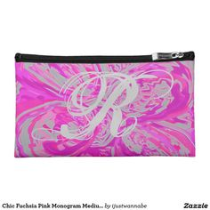 Cosmetic Bag Cosmetic Bags. Monogram Chic Fuchsia Pink and Gray Paisley Cosmetic Bag, Medium Size. Gorgeous, so Girly Chic! Put your Initial,  easy to do. Very fast shipping Worldwide. Money Back Guarantee. $47.45