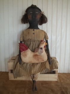 Primitive Grungy Mrs Peck and Her Chicken Doll Set | eBay