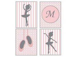 Ballerina Nursery Wall Art Print, Personalize Initial, Nursery Wall Art, Girls Bedroom Decor- G122,G123,G124&G125-Custom Colour-Unframed