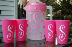 Personalized Pitcher and Set of 4 Matching Cups. $15.00, via Etsy.