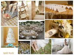 Gold Weddings, Gold wedding ideas http://www.pierrecarr.com/blog/2012/09/wedding-inspiration-olympic-gold-rush/  #PierreCarr #Moodboards