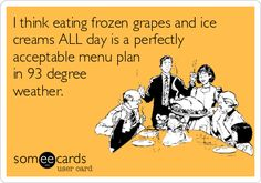 Frozen grapes and ice cream