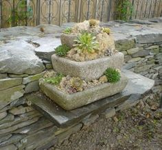Stacked hypertufa planters