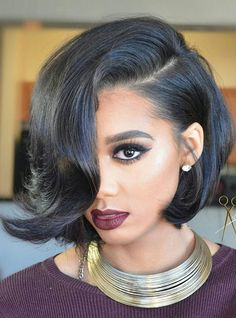 Full Lace Wigs|Lace Front Wigs|Lace Wigs @ RPGSHOW Hairstylist Anthony Elegant Black Bob - AnthonyCuts013 [AnthonyCuts013] - hair color: #1 hair length: left 11 inches, right 13 inches