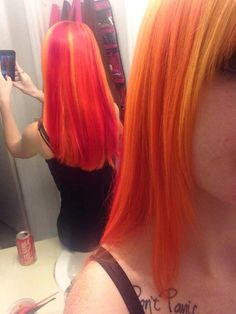 My beautiful sunset orange hair, with pink and gold highlights