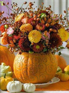 Fall Centerpiece with Mums in Pumpkins. Fancy up the pumpkin with some scroll work. Fall Wedding Decorations, Thanksgiving Decorations, Diy Thanksgiving, Mums In Pumpkins, Fall Arrangements, Autumn Decorating, Fall Table, Fall Flowers, Fall Harvest