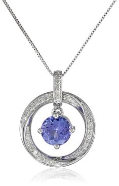"""14k White Gold Tanzanite and Diamond (1/10cttw, H-I Color, I2-I3 Clarity) Round Pendant Necklace, 18"""". White gold necklace featuring tanzanite suspended inside twisted round frame pave-set with white diamonds. Box chain with spring ring clasp. All our diamond suppliers confirm that they comply with the Kimberley Process to ensure that their diamonds are conflict free. Imported."""