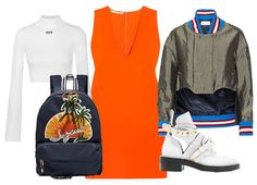 Водолазка Off-White, рюкзак See by Chloé, платье Stella McCartney, ботинки Balenciaga, бомбер Esteban Cortazar
