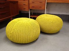 **EN VOGUE** Pouffe Footstool Cable Knit Ottoman Heals Retro Yellow Green | eBay