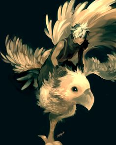 Cloud; how can he look manly on a giant yellow bird?