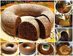 CIAMBELLA FONDENTE MORBIDISSIMA - Le Mille e una Torta di Dany&LoryINGREDIENTI:  200 g cioccolato fondente, 170 g zucchero, 30 g burro fuso, 1/2 bicchiere latte, 1 bustina vanillina, 1 bustina lievito per dolci, 200 g farina, 3 uova.