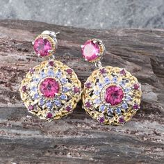 Royal Jaipur Pure Pink Mystic Topaz (Rnd), Multi Gemstone Earrings in 14K YG and Platinum Overlay Sterling Silver Nickel Free TGW 7.61 Cts.   RJ-Elaborate   Royal-Jaipur   Promotions   Online Store   Liquidation Channel Site