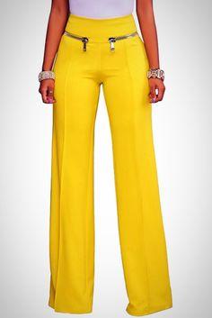 Gold Zipper High Waist Pants