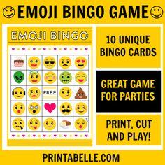Emoji Bingo Printable Game – Free Party Printables at Printabelle Beach Party Games, Bridal Party Games, Engagement Party Games, Dinner Party Games, Graduation Party Games, Kids Party Games, Birthday Party Games, Birthday Ideas, Bingo Party
