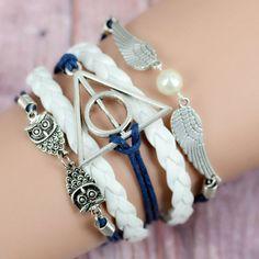 Multilayer Braided Bracelets Vintage Owl Harry Potter wings infinity bracelet, Multicolor woven leather bracelet & Bangle