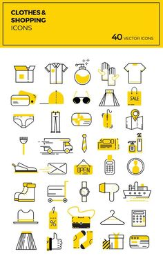 40 Free Modern Flat Shopping Vector Icons - 40 Free Flat Shopping designed by Kasra Design. These icons are available in - Ppt Design, Food Design, Flat Design Icons, Graphic Design, Icons Web, Food Icons, Vector Icons, Draw Vector, Design Room