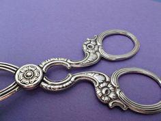 Nickel Silver Vintage Swedish Handled Serving Tongs Floral Design  offered by rubylane shop Saltymaggie's Treasures