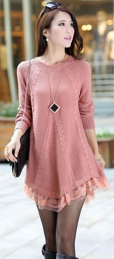 Discover thousands of images about Round Neck Long Sleeve Lace Side Women Sweater Long Sweaters, Sweaters For Women, Knit Fashion, Crochet Clothes, Pulls, Knit Dress, The Dress, Dress Long, Ideias Fashion