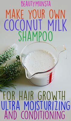 DIY Coconut Milk Shampoo for Hair Growth and Conditioning - beautymunsta - free . DIY Coconut Milk Shampoo for Hair Growth and Conditioning - beautymunsta - free natural beauty hacks and more! diy c Diy Dry Shampoo, Homemade Shampoo And Conditioner, Diy Hair Growth Shampoo, Shampooing Diy, Natural Beauty Tips, Natural Hair Styles, Natural Oils, Shampoo Herbal Essences, Soap Recipes