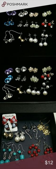 22 Piece Fashion Variety Earrings Lot This is a used 22 piece fashion earrings lot ranging from fashion studs, flowers, drop earrings, asian dolls, sun, yin yang, wings. I received some as gifts or bought at forever 21, Claire's, H&M, and some purchased in Hong Kong. Jewelry Earrings